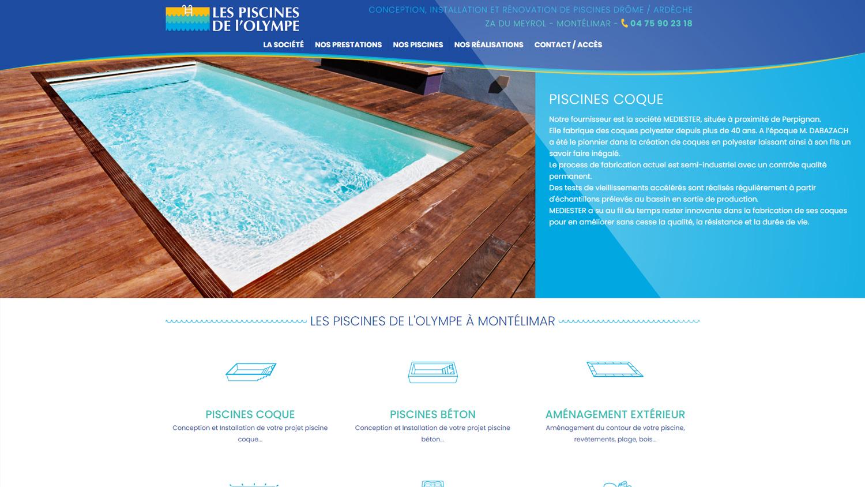 Site internet Les Piscines de l'Olympe à Monté